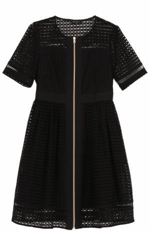 Приталенное кружевное мини-платье Tara Jarmon. Цвет: черный