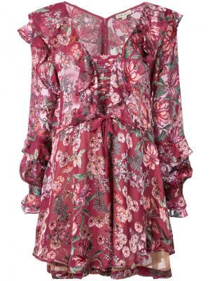 Платье с цветочным принтом For Love And Lemons. Цвет: розовый и фиолетовый