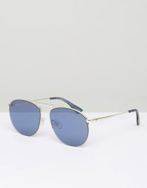 Le Specs Солнцезащитные очки-авиаторы с голубыми стеклами. Цвет: золотой