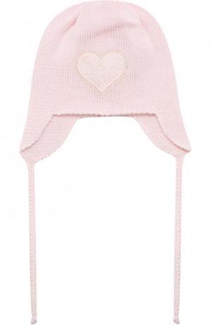 Хлопковая шапка с декором Il Trenino. Цвет: розовый