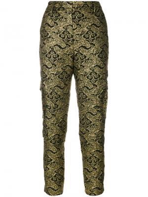 Жаккардовые брюки узкого кроя Dorothee Schumacher. Цвет: зелёный