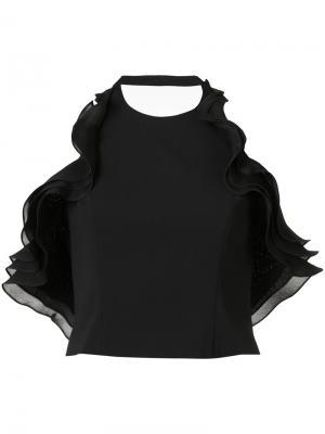 Укороченная блузка с рюшами без рукавов Badgley Mischka. Цвет: чёрный