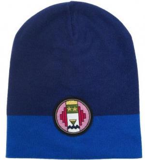 Синяя вязаная шапка ICEBERG. Цвет: синий