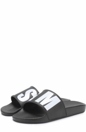 Резиновые шлепанцы с логотипом бренда MSGM. Цвет: черный
