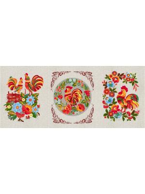 Набор из трех полотенец (45х60) Вышивка лён Традиция. Цвет: бежевый