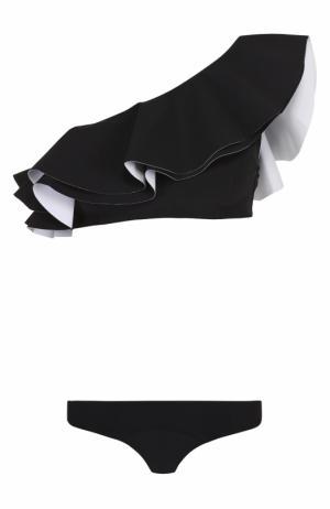Раздельный купальник с открытым плечом и оборками Lisa Marie Fernandez. Цвет: черный