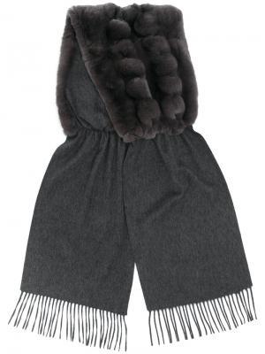 Пышная плетеная шаль N.Peal. Цвет: серый