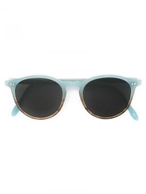 Солнцезащитные очки с круглой оправой Pantos Paris. Цвет: синий