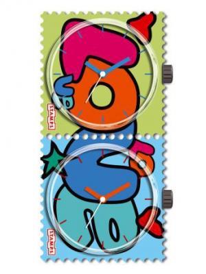 Часы S.T.A.M.P.S. Двойные Love. Цвет: синий, голубой, малиновый