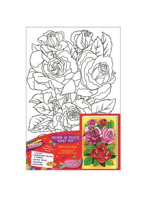 Роспись по холсту Букет роз,20Х30СМ КРЕАТТО. Цвет: розовый