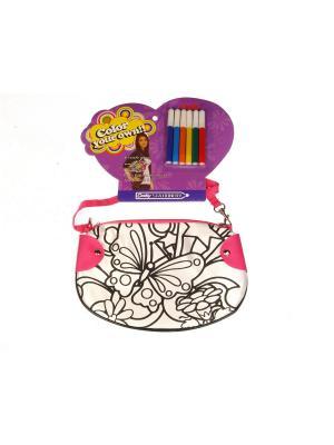 Набор Раскрась сумочку с фломастерами Азбука Тойс. Цвет: розовый