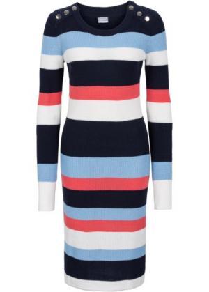 Вязаное платье в полоску (темно-синий/нежно-голубой/омаровый полоску) bonprix. Цвет: темно-синий/нежно-голубой/омаровый в полоску