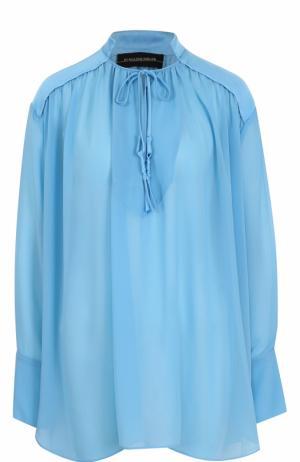 Блуза свободного кроя с воротником-стойкой By Malene Birger. Цвет: голубой