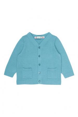 Кардиган голубой хлопковый с карманами Bonpoint. Цвет: голубой