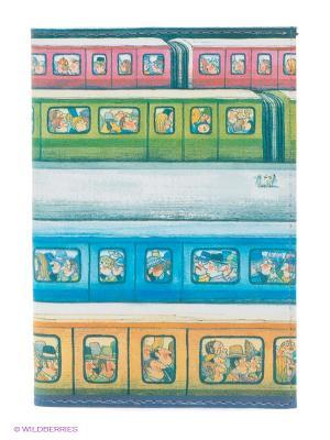 Обложка для паспорта Электрички Mitya Veselkov. Цвет: голубой, желтый, зеленый, розовый