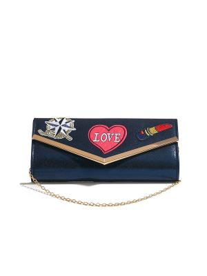 Клатч конверт Из Парижа с Любовью поп арт стикерами и съемной цепочкой Nothing but Love. Цвет: темно-синий