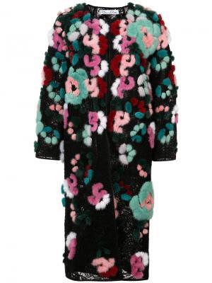 Шуба с цветочной вышивкой Oscar de la Renta. Цвет: многоцветный