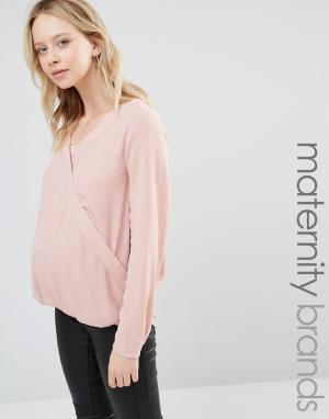 Mama.licious Тканая блузка для беременных и кормящих с запахом длинными рукавами. Цвет: розовый