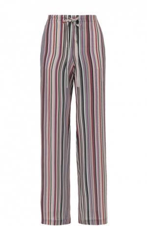 Шелковые брюки прямого кроя в полоску с эластичным поясом Theory. Цвет: разноцветный
