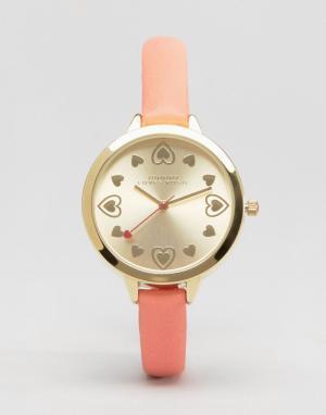 Johnny Loves Rosie Серебристые часы с сердечками. Цвет: серебряный