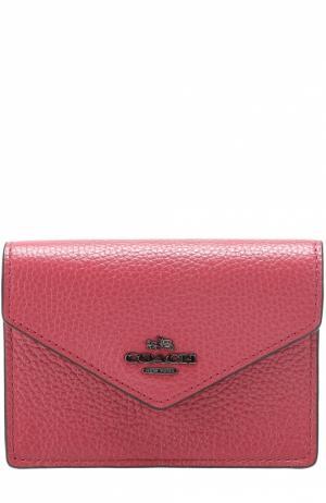 Футляр для кредитных карт из зерненой кожи Coach. Цвет: розовый