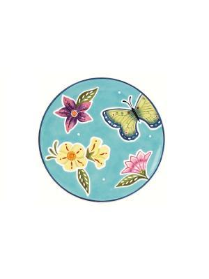 Тарелка бабочки Летняя лужайка 22,5см Elff Ceramics. Цвет: голубой, сиреневый, белый