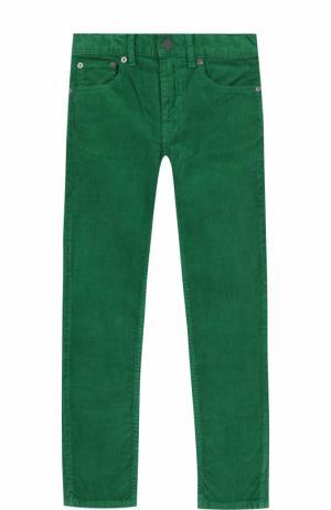 Вельветовые джинсы прямого кроя Burberry. Цвет: зеленый