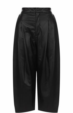 Кожаные укороченные брюки с защипами Natasha Zinko. Цвет: черный