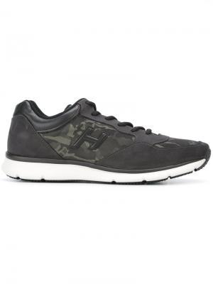 Кроссовки с камуфляжными панелями Hogan. Цвет: чёрный