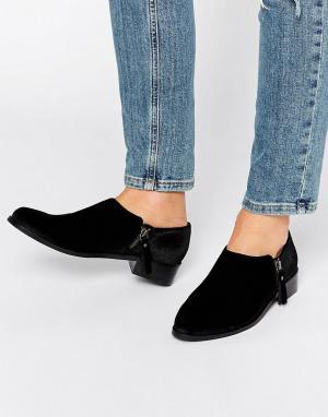 Office Бархатные туфли на плоской подошве с молниями Flex. Цвет: черный