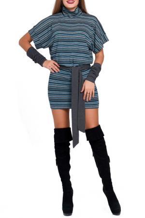 Платье с поясом Majaly. Цвет: серо-бирюзовый