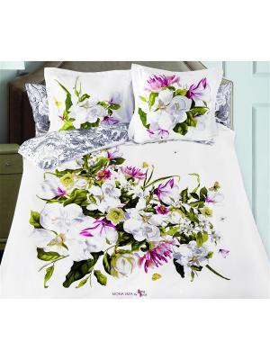 Комплект постельного белья SergLook 2х сп. Magnolia Mona Liza. Цвет: белый, зеленый, бордовый