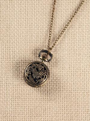 Кулон-часы Бабочка среди цветов (мини) Mitya Veselkov. Цвет: бронзовый