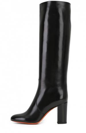 Кожаные сапоги на устойчивом каблуке Santoni. Цвет: черный