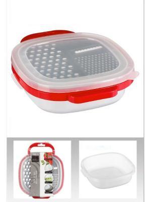 Контейнер пластиковый с крышкой-теркой JJA. Цвет: серебристый,красный,белый