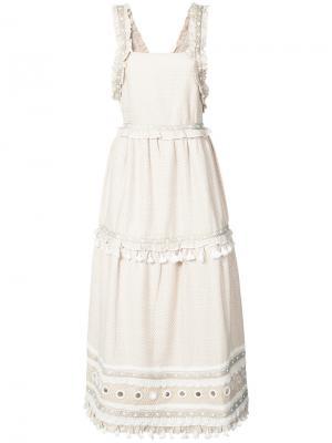 Платье с оборками и кисточками Dodo Bar Or. Цвет: телесный