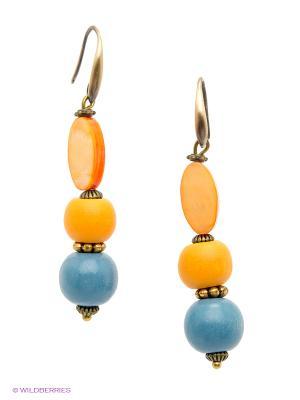 Серьги Роман с камнем. Цвет: оранжевый, синий
