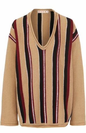 Пуловер свободного кроя с V-образным вырезом Marni. Цвет: бежевый