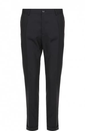 Шерстяные брюки прямого кроя Dolce & Gabbana. Цвет: темно-синий