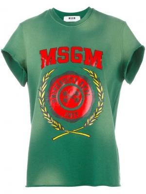 Толстовка с короткими рукавами логотипом MSGM. Цвет: зелёный
