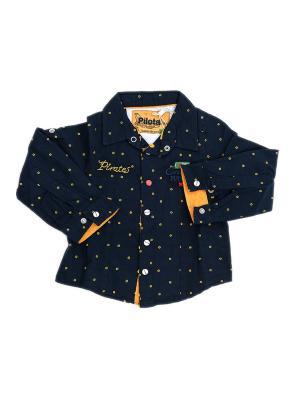 Детская рубашка Pilota. Цвет: черный, желтый