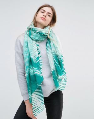 Becksondergaard Зеленый oversize-шарф с абстрактным принтом. Цвет: зеленый