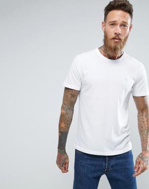 Abercrombie & Fitch Белая зауженная футболка с круглым вырезом. Цвет: белый
