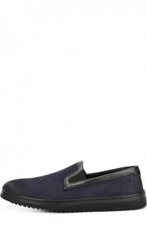 Слипоны из нубука с кожаной отделкой Dolce & Gabbana. Цвет: темно-синий
