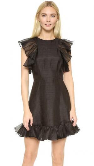 Льняное мини-платье с оборками Cynthia Rowley. Цвет: голубой
