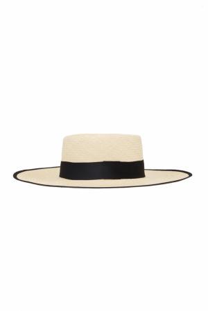 Соломенная шляпа Polo Natural Artesano. Цвет: кремовый, черный