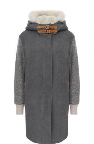 Шерстяное пальто прямого кроя с капюшоном Rag&Bone. Цвет: темно-серый