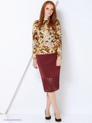 Блузка СТиКО. Цвет: коричневый, кремовый, желтый