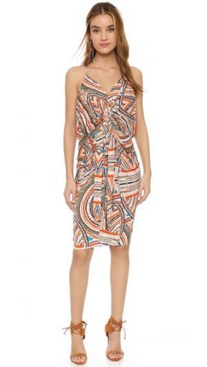 Платье до колен с узлом MISA. Цвет: мульти