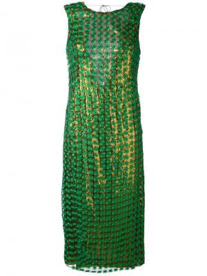 Платье с эффектом металлик Marco De Vincenzo. Цвет: зелёный